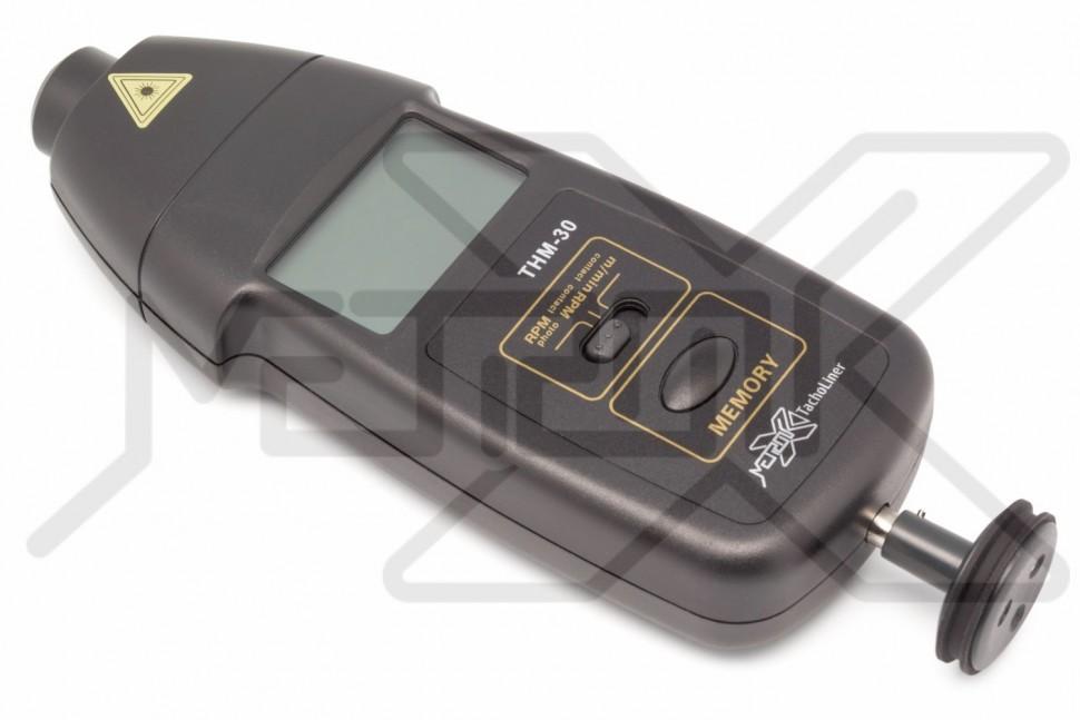 Комбинированный тахометр TachoLiner THM-30 Комбинированный тахометр. Бесконтактное измерение скорости вращения 2,5-99999 об/мин, контактное измерение скорости вращения 0,5-19999 об/мин и скорости поверхности 0,05-1999,9 м/мин. Память для максимального, минимального и последнего значения.