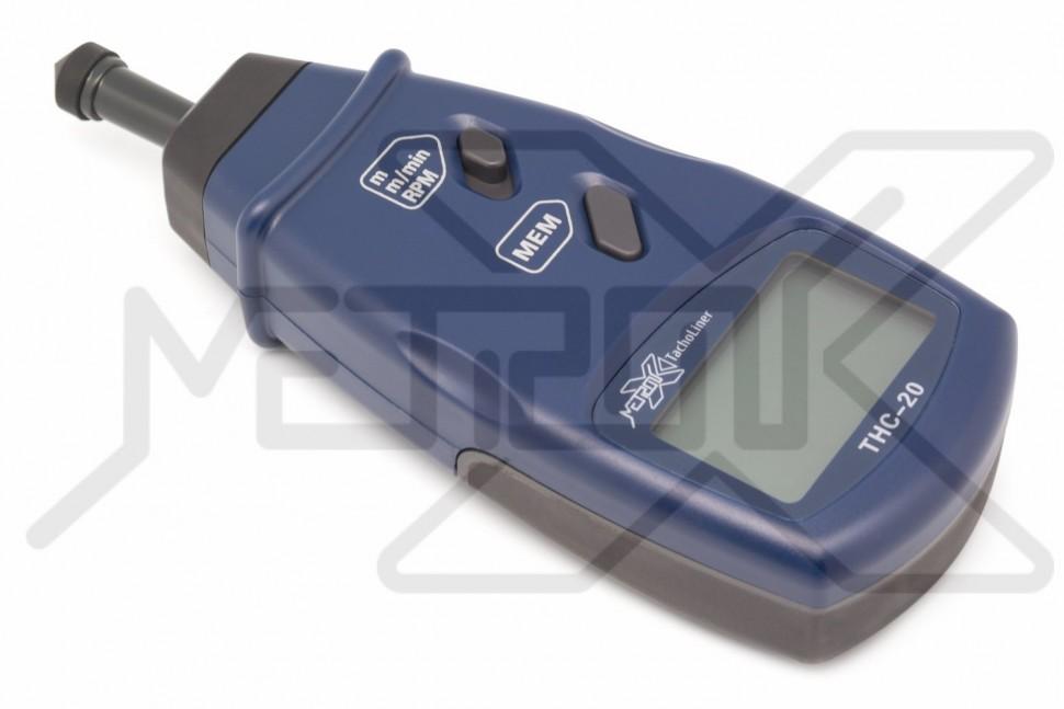 Контактный тахометр TachoLiner THC-20 Контактный тахометр. Контактное измерение скорости вращения 0,5-19999 об/мин, скорости поверхности 0,05-1999,9 м/мин и длины 0,05-99999 м. Память для максимального, минимального и последнего значения. Память на 96 последовательных измерений.