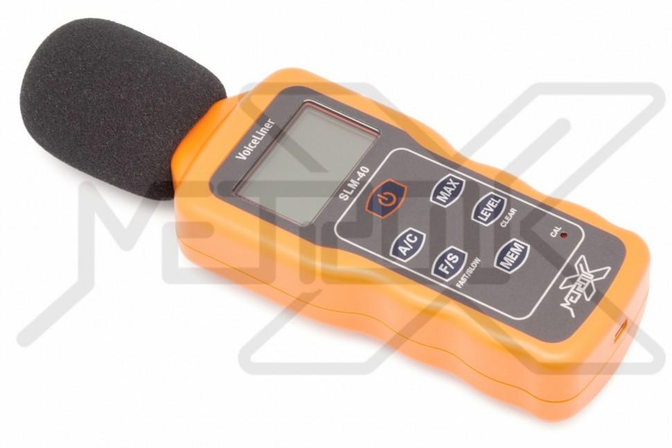 Шумомер с USB интерфейсом VoiceLiner SLM-40 Измеритель уровня звука 30-130Дб. USB интерфейс для подключения к ПК. Шумомер оснащен памятью на 60000 измерений. Фиксация максимальных значений. Частотный коэффициент A/C.