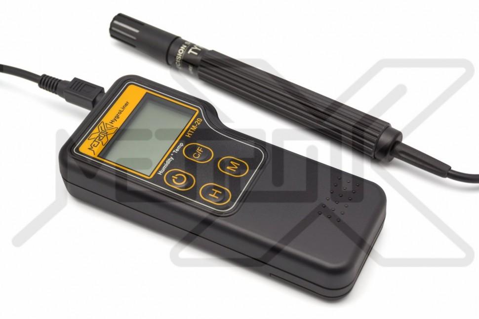 Термогигрометр HygroLiner HTM-20 Измеритель влажности воздуха 0-70% и температуры воздуха -40 - +85°C. Термогигрометр с внешним выносным электродом. Удержание показаний. Режимы измерения максимального, минимального и текущего значений. Автоматическая температурная компенсация. Калибровка температуры.