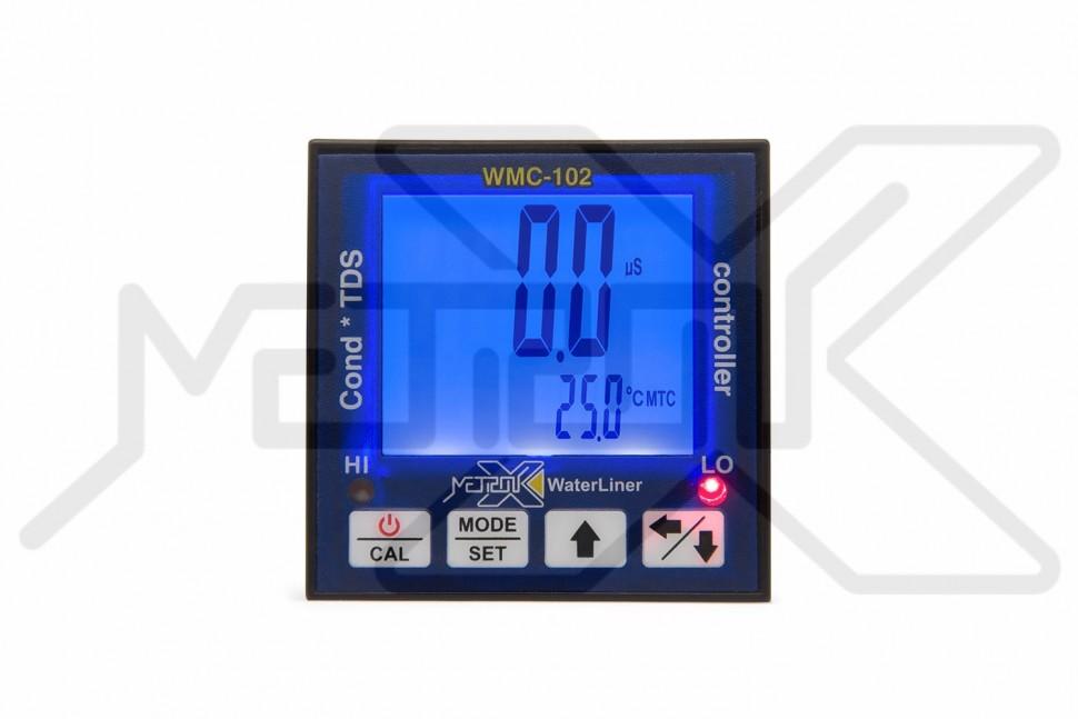 Контроллер электропроводности и солесодержания WaterLiner WMC-102 Промышленный контроллер электропроводности и солесодержания, монитор температуры воды. Возможность подключения внешних выносных электродов. Диапазон измерений EC 0-1999мкСм и 2-100мСм, TDS 0-1319ppm и 1.32-66ppt, температуры 0-110°C. Автоматическая и ручная температурная компенсация. Калибровка. 2 управляющих реле. Для установки в приборную панель 1/16 DIN.